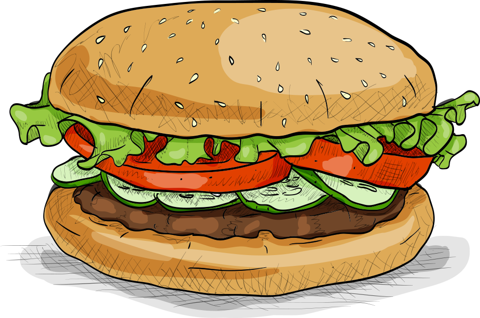 clip download Hamburger fast food veggie. Vector burger