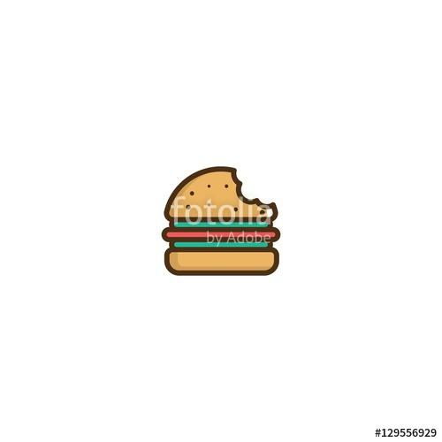 clip black and white download Logo design element stock. Vector burger bite