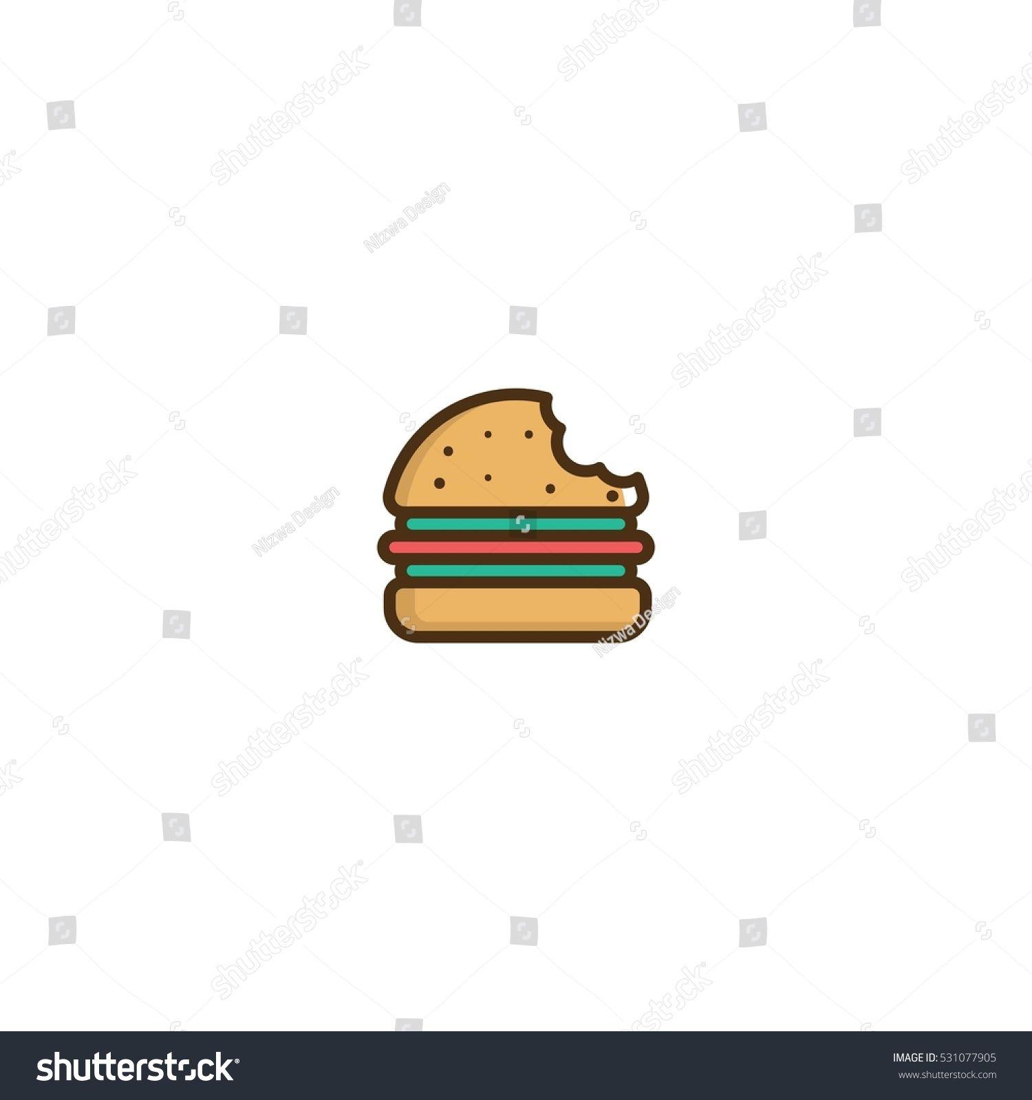 banner freeuse stock Vector burger bite. Logo design element unique