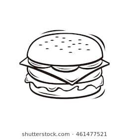 image library stock Line art hamburguesas . Vector burger black and white