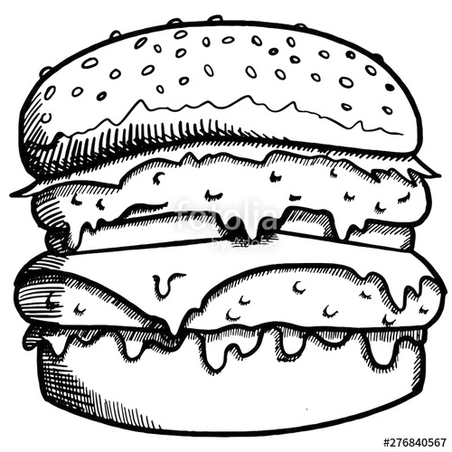 svg free library Drawing in of a. Vector burger black and white