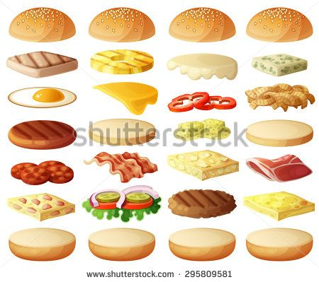 graphic freeuse stock Burgers set ingredients buns. Vector burger bread