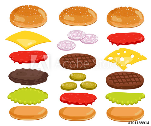 vector royalty free download Vector burger bread. Isolated ingredients on white