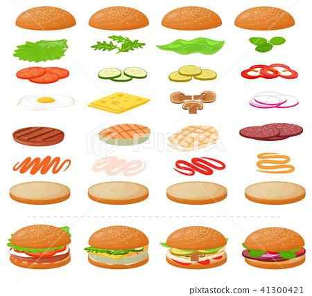 jpg transparent stock Fast food hamburger or. Vector burger bread