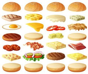 picture royalty free download Burgers set ingredients buns. Vector burger cheese
