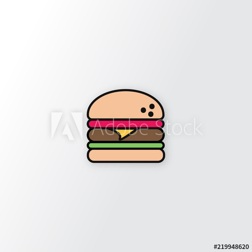 png free download Vector burger cheese. With meat salad isolated