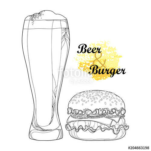 banner black and white Outline cheeseburger or with. Vector burger cheese