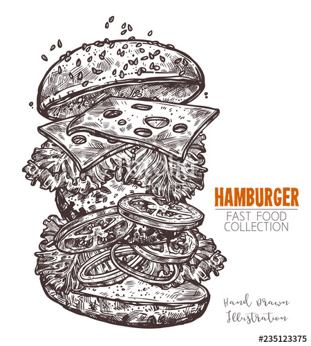 picture free library Cheeseburger hand drawn engraving. Vector burger classic