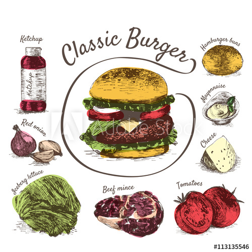 jpg royalty free library Colorful illustration of ingredients. Vector burger classic