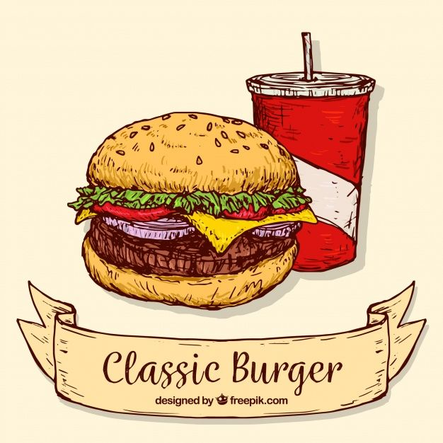 svg freeuse library Vector burger classic. Hand drawn background of
