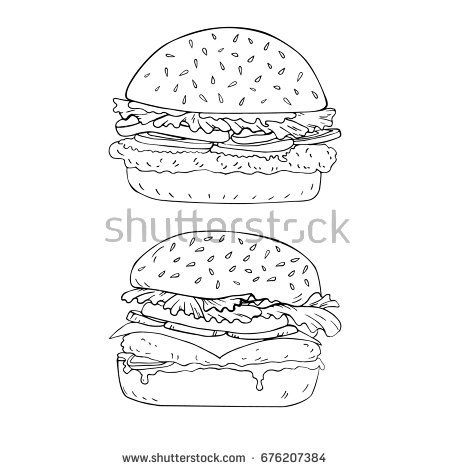 graphic royalty free download Vector burger coloring. Hand drawn in page