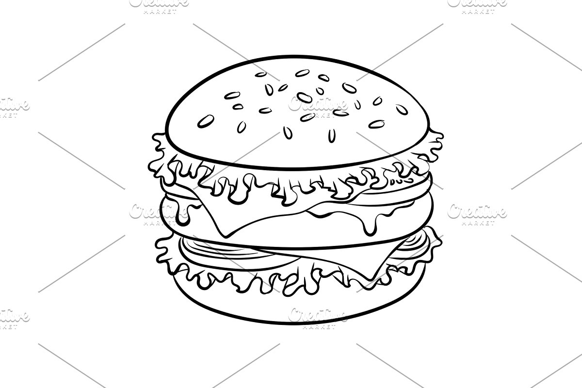 clipart royalty free Vector burger coloring. Sandwich book