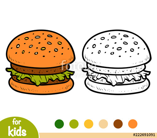 banner freeuse Book for children cartoon. Vector burger coloring