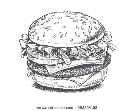 freeuse stock Vector burger drawing. Stock vectors clip art