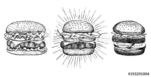 image transparent download Vector burger drawing. Vintage buy this stock