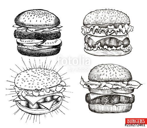 picture library download Vintage stock image and. Vector burger drawing