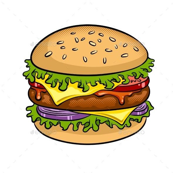 clip transparent stock Sandwich pop art illustration. Vector burger drawing
