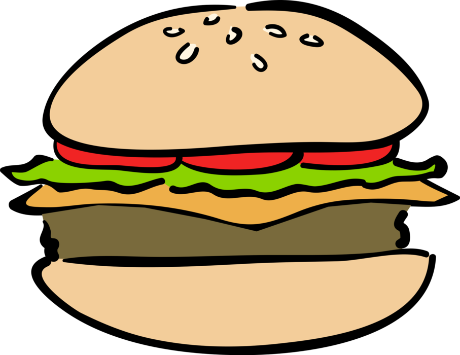 jpg black and white download Vector burger fast food. Hamburger meal image illustration