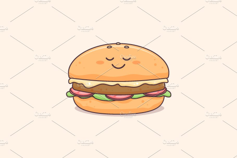 clipart black and white library Vector burger high resolution. Character