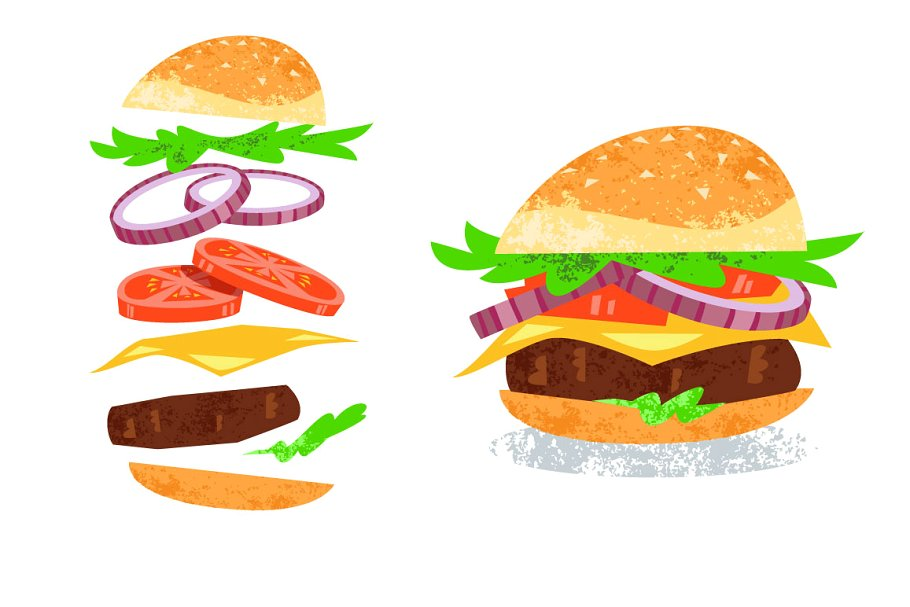 clipart transparent stock Burger Vector Illustration