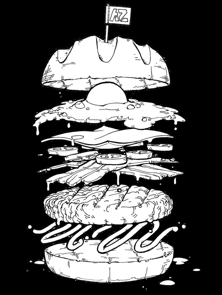 banner transparent Vector burger line art. Drawing at getdrawings com