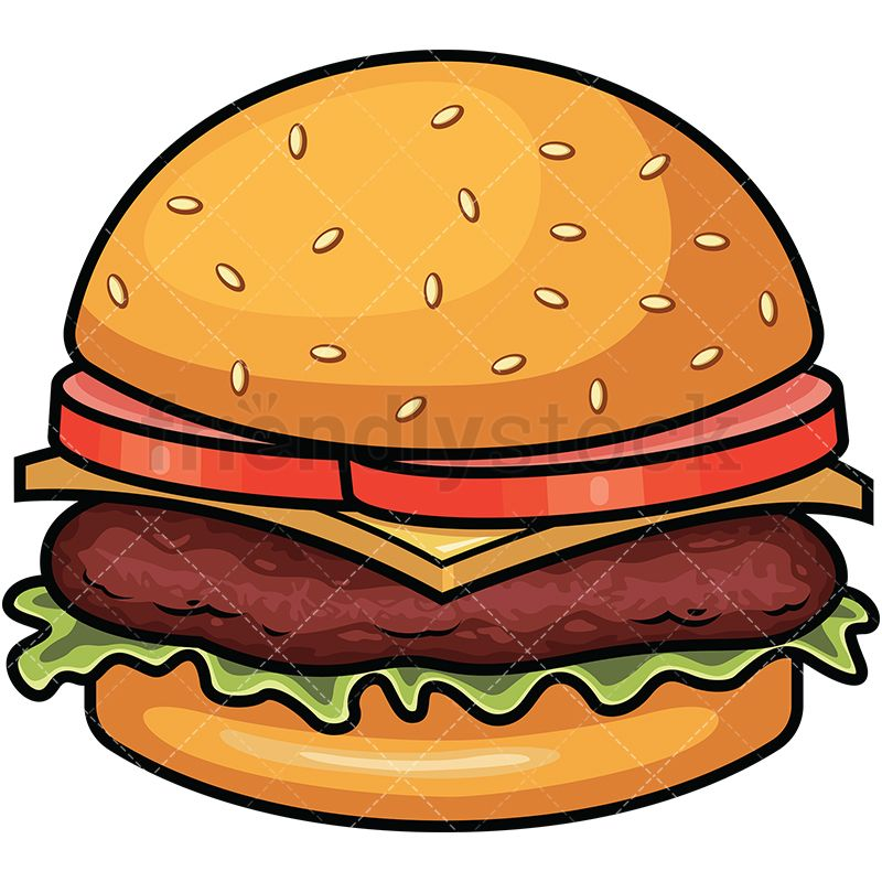 picture freeuse library Hamburger with cheese and. Vector burger meat