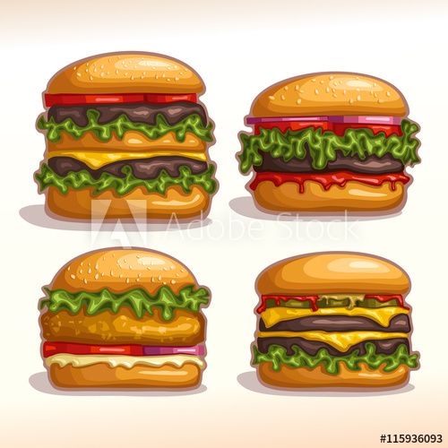 clip transparent download Vector burger meat. Logo set isolated burgers