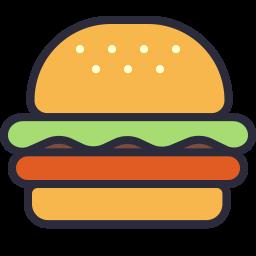 jpg freeuse download Vector burger outline. Icon filled shop download
