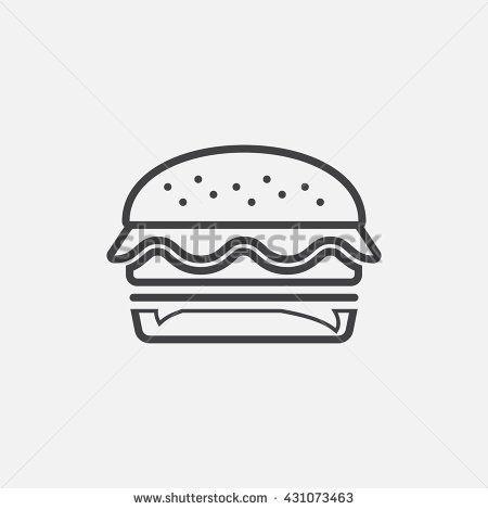 banner royalty free download Hamburger line icon logo. Vector burger outline