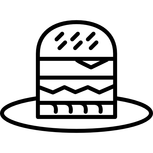 banner free download Vector burger outline. Cartoon on a plate
