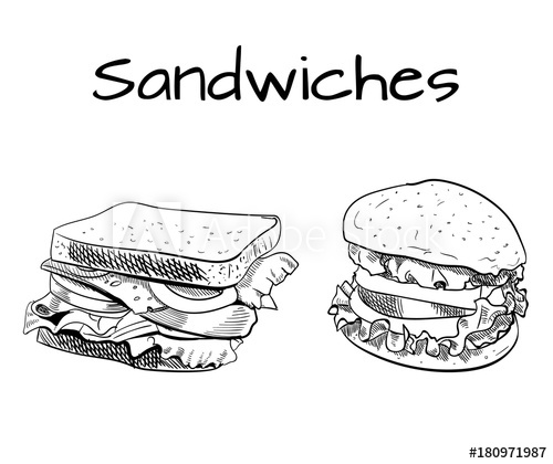 clip art library stock Vector burger outline. Sandwich and drawing sketch