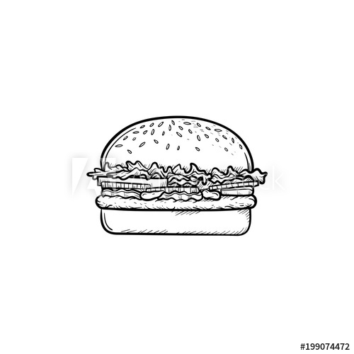svg black and white library Hand drawn doodle icon. Vector burger outline