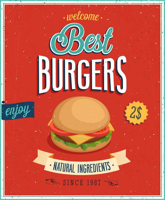 clip art royalty free library Vintage burgers illustration self. Vector burger poster