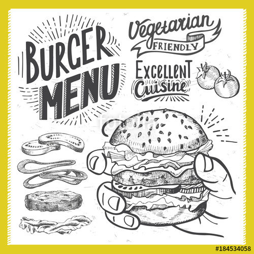 royalty free library Vector burger poster. For menu restaurant stock