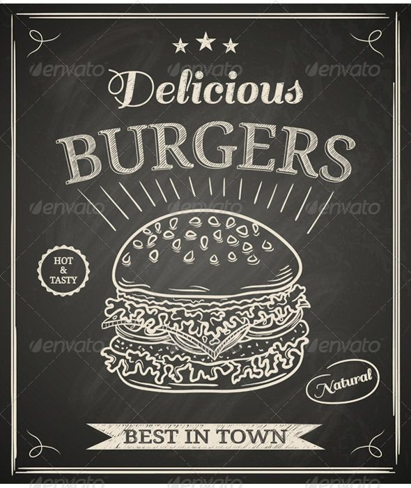 jpg freeuse Vector burger poster. Food objects chalkboard art