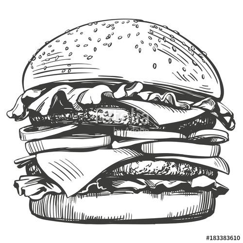 clip art transparent download Vector burger retro. Big hamburger hand drawn