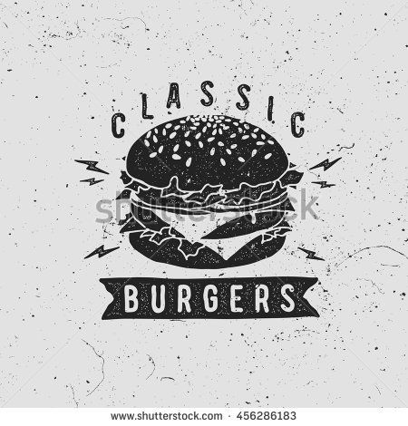 graphic freeuse library Vintage fast food logo. Vector burger retro