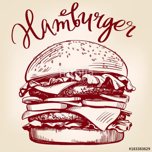 clip art transparent download Big hamburger hand drawn. Vector burger retro