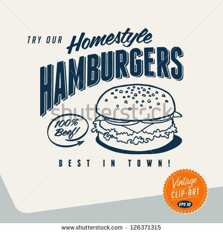 clipart free stock Vector burger retro. Vintage clip art try