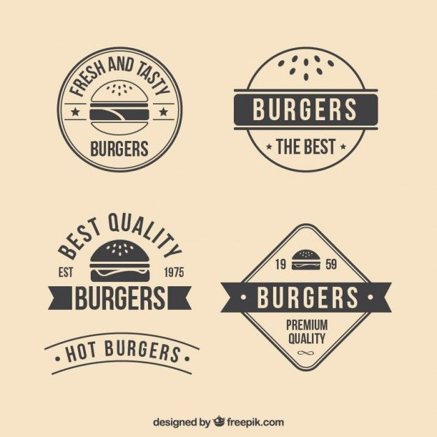 picture library Burgers badges free logo. Vector burger retro