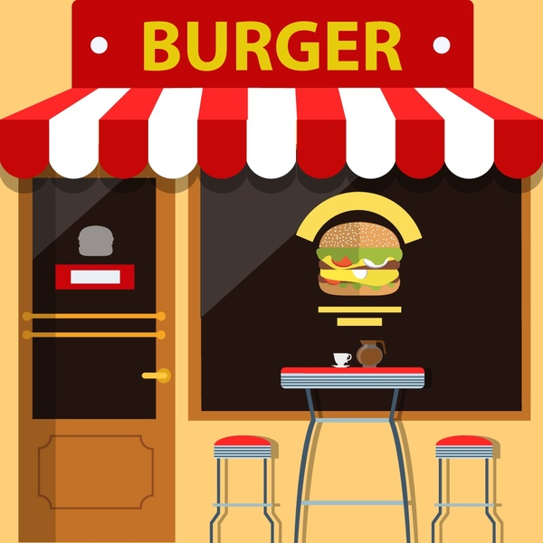 jpg download Burger store facade design with food on window Free vector