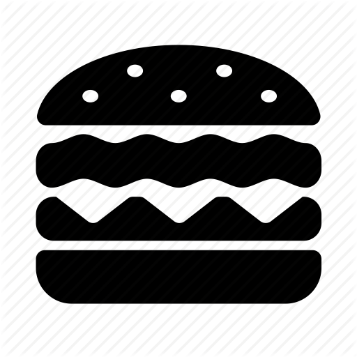 black and white library Vector burger symbol. Cosmo food by icojam