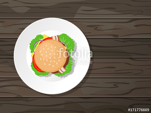 graphic black and white download Tasty fresh white plate. Vector burger top