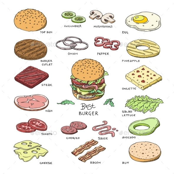 free library Fast food . Vector burger top