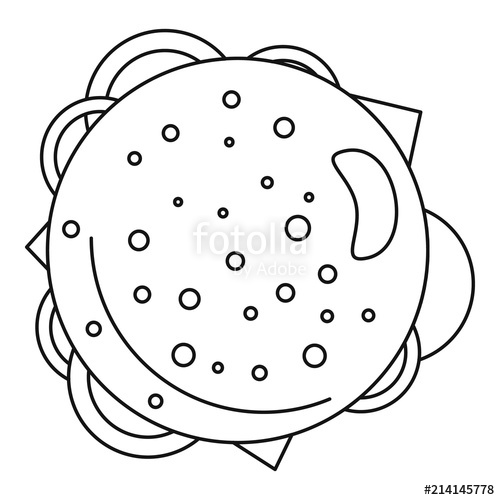 transparent stock Icon outline . Vector burger top view