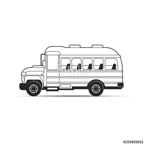 graphic freeuse library Outline school cartoon stock. Vector bus black and white