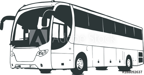 png stock Vector bus black and white. Illustration isolated on background