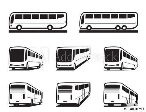 banner black and white stock Vector bus coach. Tourist buses and coaches