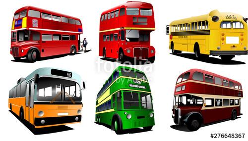 clip art free Six city buses school. Vector bus coach