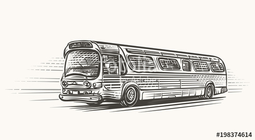 graphic free Vector bus drawing. Old retro vintage hand